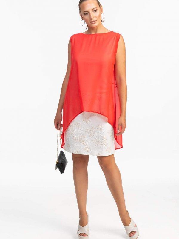 Φόρεμα αμάνικο με κόκκινη διαφάνεια 1