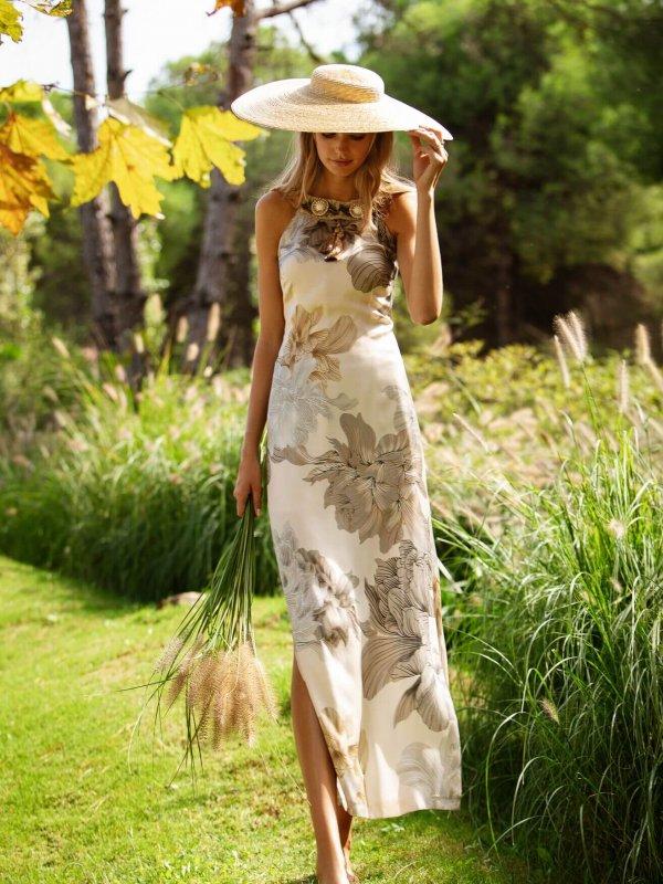 Φόρεμα φλοράλ μακρύ με σκισίματα 1