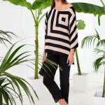 Μπλούζα Ριγέ με μαύρο παντελόνι | Γυναικεία Ρούχα | Ωραιόκαστρο Θεσσαλονίκης