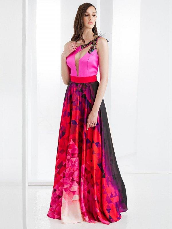 Maxi φόρεμα με ένα ώμο έξω 1