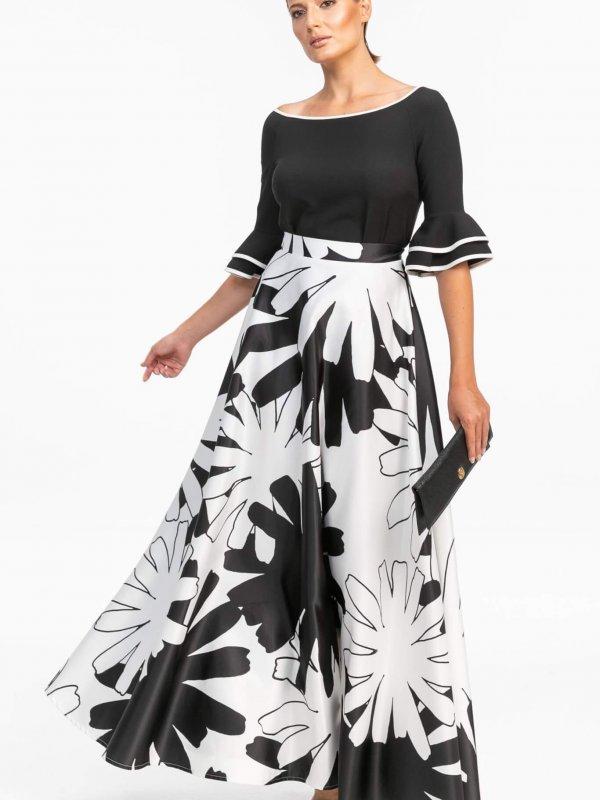Maxi Φλοράλ Ασπρόμαυρη φούστα 1