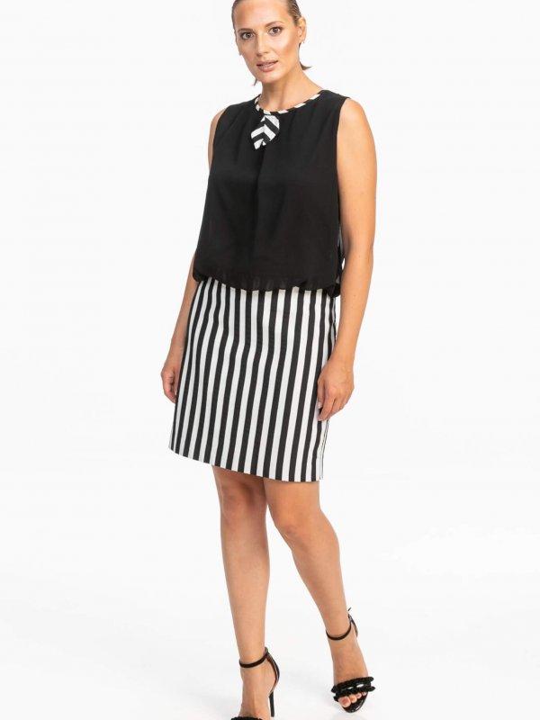 Φόρεμα μίντι με ριγέ λεπτομέρειες 1
