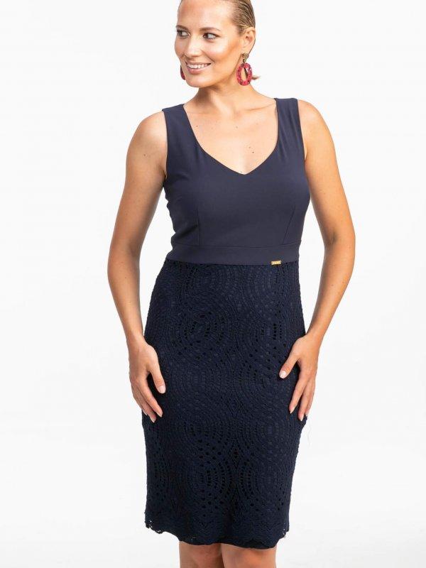 Midi φόρεμα αμάνικο με δαντέλα 1