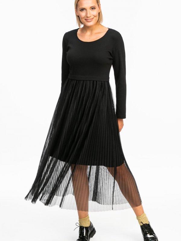 Φόρεμα με διαφάνεια πλισέ 1