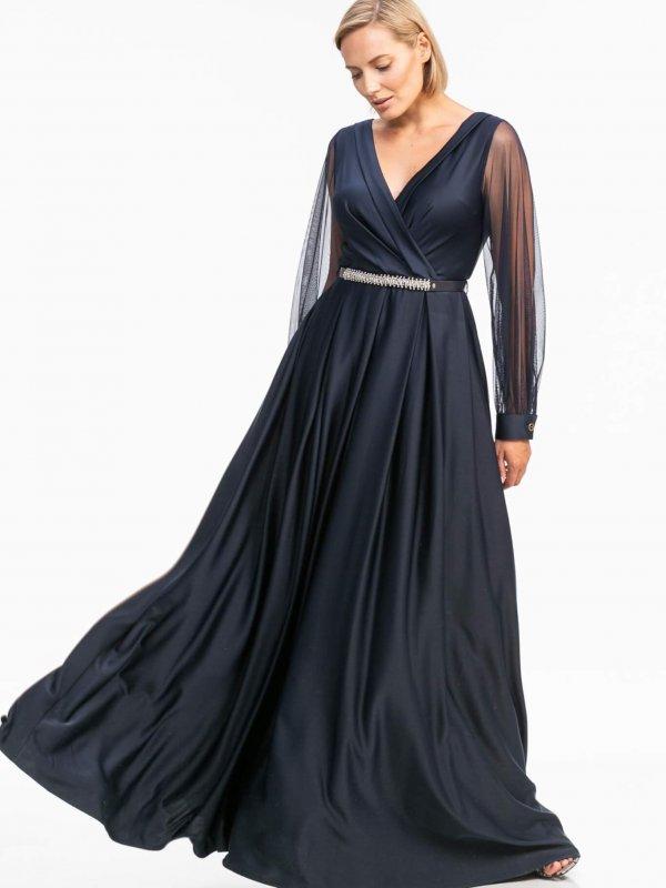 Maxi φόρεμα με διαφάνεια στα μανίκια 1