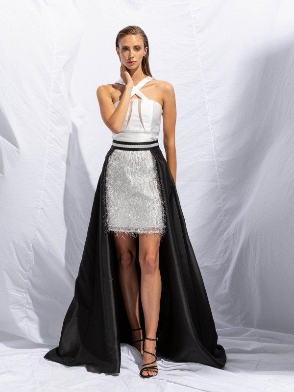 Φόρεμα με χιαστί λαιμό και διαφάνεια 1