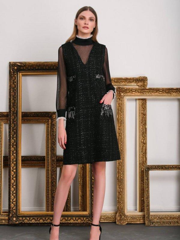Φόρεμα αμάνικο με pajette λεπτομέρειες 1