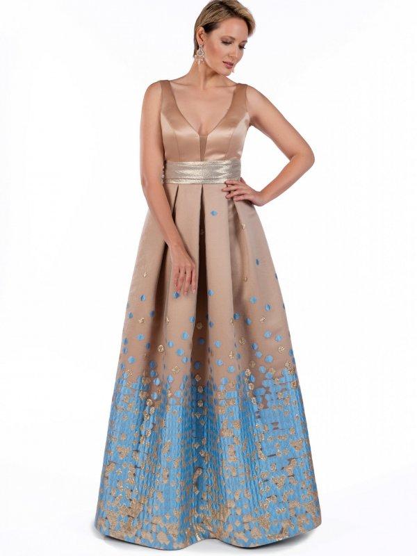 Φόρεμα maxi με χρυσή φάσα 1
