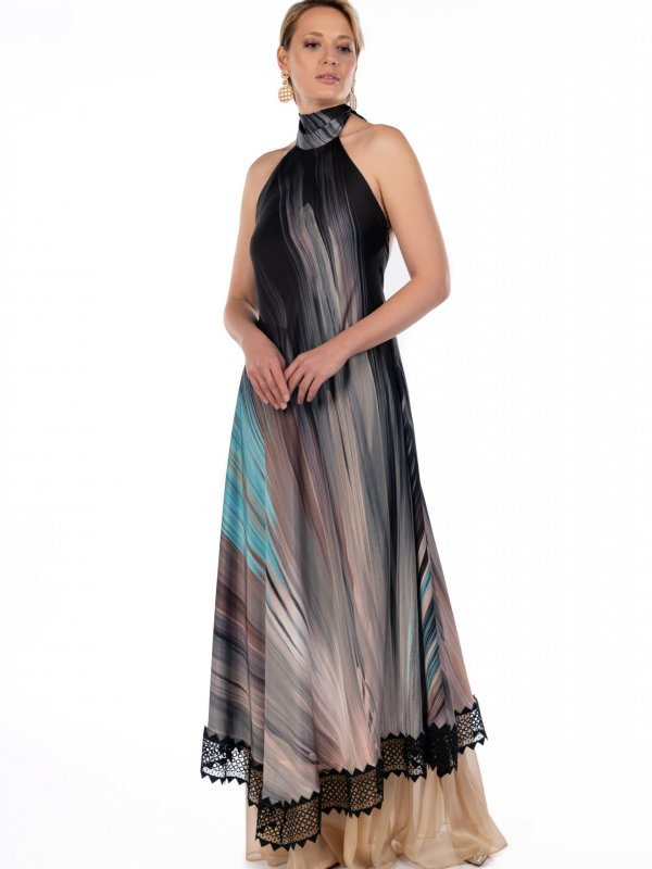 Maxi φόρεμα εμπριμέ με δαντέλα 1