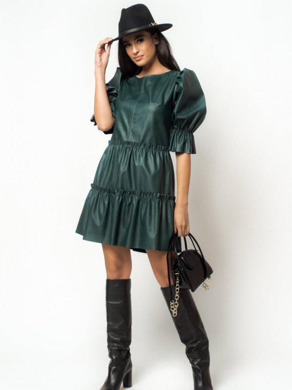 Δερμάτινο Φόρεμα με Σούρες 1