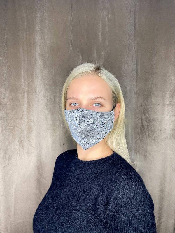 Μάσκα με λευκή δαντέλα 1