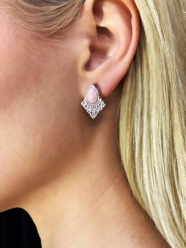 Σκουλαρίκι ροζ με πέτρες 1