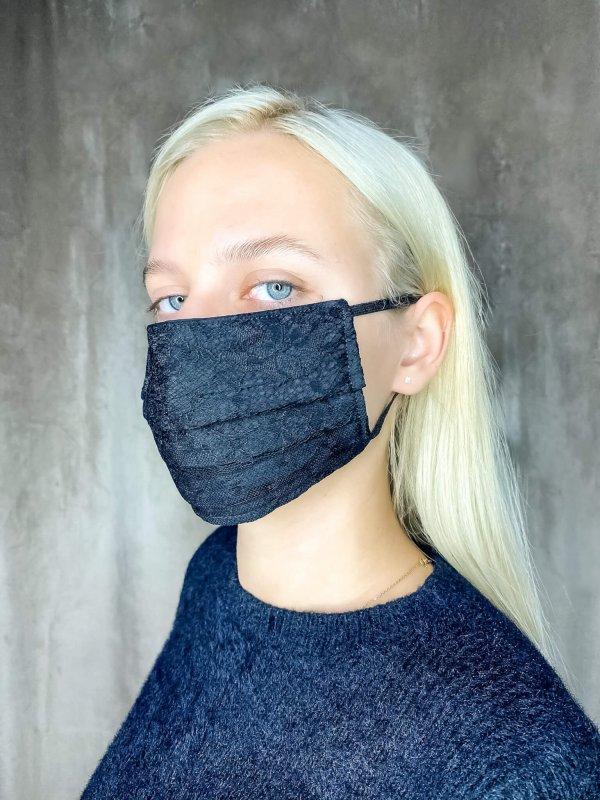 Μάσκα μαύρη δαντέλα 1