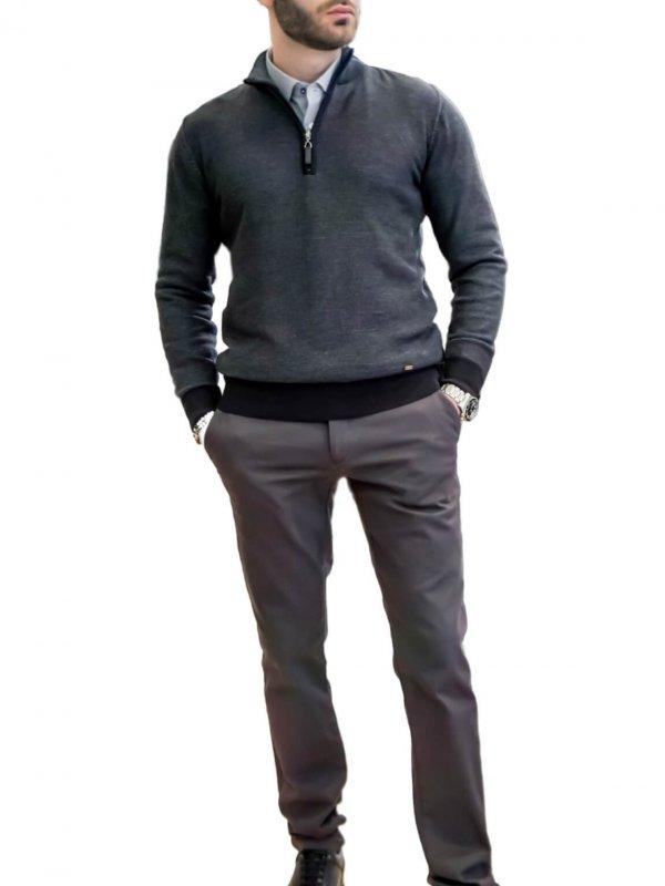 Πλεκτή μπλούζα με φερμουάρ 1